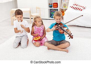 différent, gosses, instruments, jeu, essayer, musical