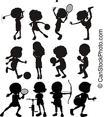 différent, gosses, silhouette, jouer, sports