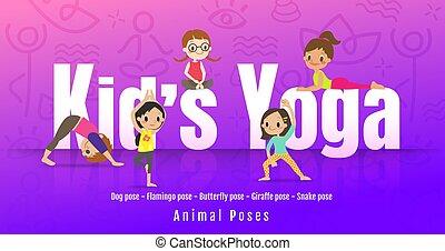 différent, gosses, yoga, illustration., jeune, posture., enfants, poses, vecteur, animal, dessin animé