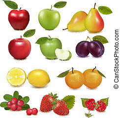 différent, grand, fruit., groupe