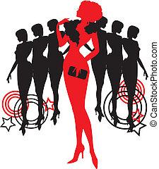 différent, graphique, groupe, silhouettes., personne, femmes