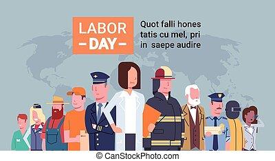 différent, groupe, gens, sur, carte, main-d'œuvre, mondiale, international, jour, occupation