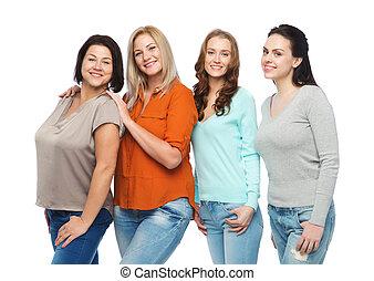 différent, groupe, vêtements, heureux, désinvolte, femmes