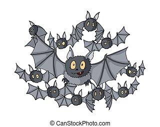 différent, halloween, dessin animé, chauves-souris, illustration, vecteur, coloré, foule, griffonnage