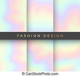 différent, holographic, arrière-plans, réaliste, couleurs, ensemble, 6, design.