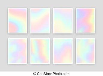 différent, holographic, arrière-plans, réaliste, couleurs, ensemble, 8, design.