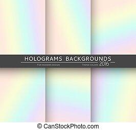 différent, holographic, arrière-plans, réaliste, couleurs, mettez stylique, 6