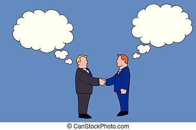 différent, hommes, deux, idées, quoique, tenant mains, secousse