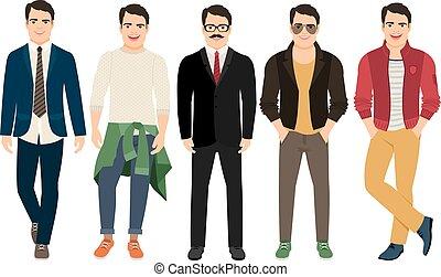différent, hommes, mâle jeune, vêtements