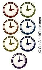 différent, horloge, couleurs