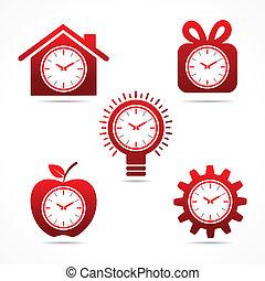 différent, horloge, ensemble, vecteur, sh