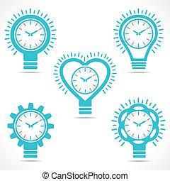 différent, horloge, forme