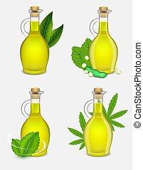 différent, huile, ensemble, plante, illustration, réaliste, vecteur, bouteille, types