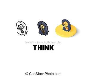 différent, icône, style, penser