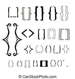différent, icônes, brackets., main, parenthèse, dessiné,...