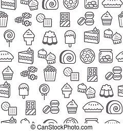 différent, icônes, dessert, style, modèle, seamless, ligne