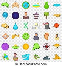 différent, icônes, ensemble, style, mondiale, dessin animé