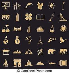 différent, icônes, ensemble, style, simple, mondiale