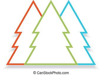 différent, illustration., arbres, vecteur, colors., noël