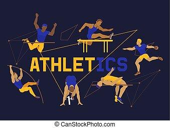 différent, illustration., bannière, affiche, athlète, mâle, exercisme, club., courant, poses., vecteur, figures, athlétisme, brochure, formation, jumping., sport, competition., homme