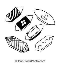 différent, illustration, contour, coloration, ensemble, bonbons, retro, livre, 6, bonbon, style., griffonnage, vecteur, papier, cape, vendange