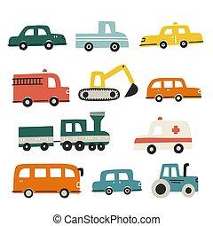 différent, illustration, ensemble, dessiné, vecteur, conception textile, main, gosses, cars.