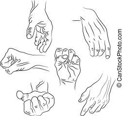 différent, illustration., isolé, vecteur, fond, mains, interpretations., blanc