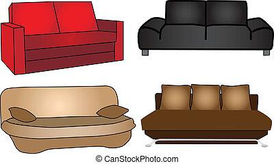 différent, -, illustration, lits, couleurs, vecteur