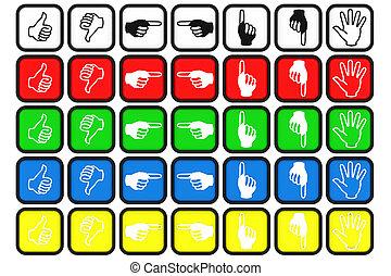différent, image., couleur, bouton, collection, gestes, signaux main, engendré, informatique, mains, signs.