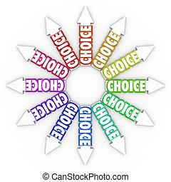 différent, incertitude, flèches, occasions, choix, choix