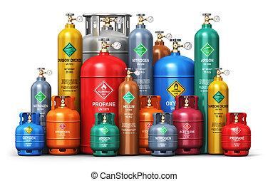 différent, industriel, essence, liquéfié, ensemble, récipients