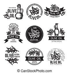 différent, ingredients., paquet, texte, étiquettes, monochrome, vecteur, conception, endroit, images, olive, produits, ton