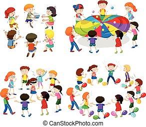 différent, jeux, enfants jouer