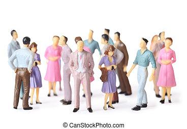 différent, jouet, gens, isolé, multicolore, stand, blanc, poses