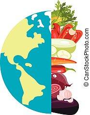 différent, légumes, poster., globe, signe
