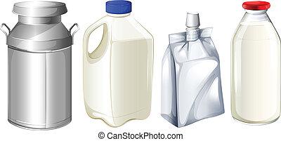 différent, lait, récipients