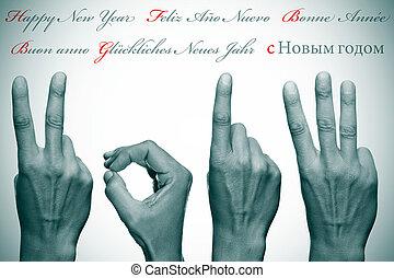 différent, langues, écrit, année, nouveau, 2013, heureux