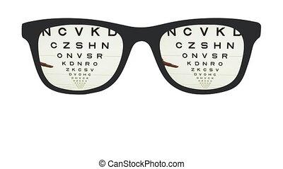 différent, lettres, pointage, optique, lunettes, main, vue frontale, inspection, taille
