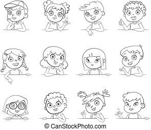 différent, logotype, gestes, divers, tenue, nationalités, board., blanc, enfants, vide