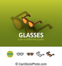 différent, lunettes, style, icône