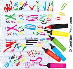 différent, marqueurs, couleurs, ensemble