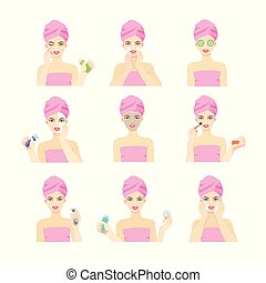 différent, masks., après, figure, regarde, applique, peau, girl, problème