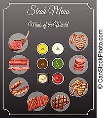 différent, menu, viandes, types, bifteck, sauces