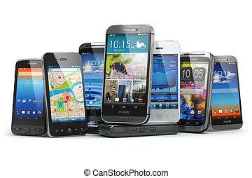 différent, mobile, téléphone., choisir, smartphones., rang