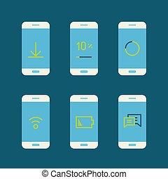 différent, moderne, gadget, messages., système, illustration, vecteur, lineart