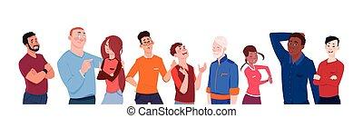 différent, moderne, groupe, gens arrière-plan, âge, hommes, isolé, dessin animé, mélange, divers, course, horizontal, bannière, blanc, femmes