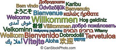 différent, mot, beaucoup, accueil, langues, nuage