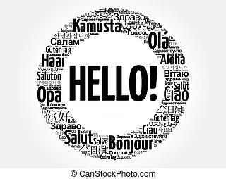 différent, mot, langues, mondiale, bonjour, nuage