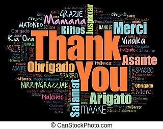 différent, mot, remercier, langues, vous, nuage