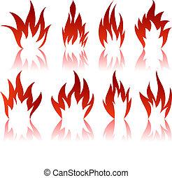 différent, motifs, brûler, ensemble